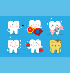 Set of six healthy teeth concept vector