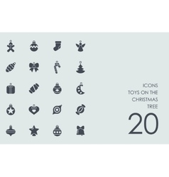 Set of toys on the Christmas tree icons vector image