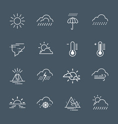 set of weather icons on grey background climate vector image