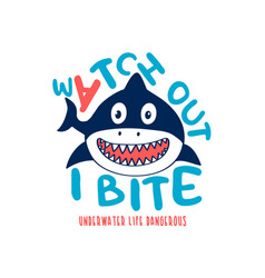 shark print design with slogan vector image