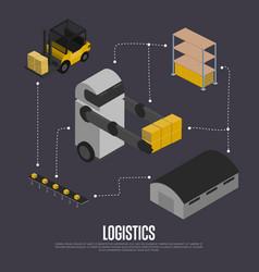 shipment logistics isometric flowchart vector image