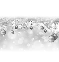 silver christmas background with branches vector image
