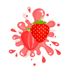 Sliced ripe strawberry juice splashing colorful vector