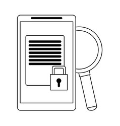 Smartphone with secured document and magnifying vector