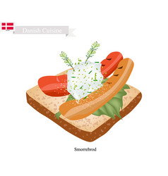 smorrebrod with sausage the national dish of denma vector image