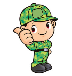 soldier character thumb gesture isolated on white vector image