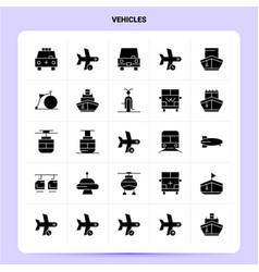 solid 25 vehicles icon set glyph style design vector image