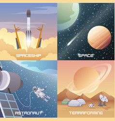 space exploration 2x2 flat design concept vector image