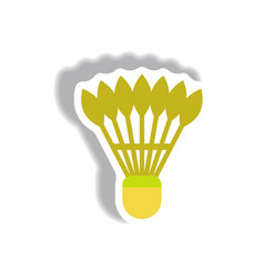 Stylish icon in paper sticker style shuttlecock vector