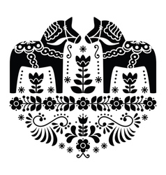 Swedish Dala or Daleclarian horse folk pattern vector