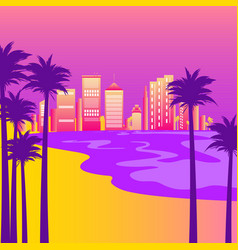 syntwave with beach palm trees and city vector image