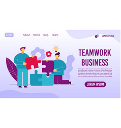 Teamwork business management workflow web page vector