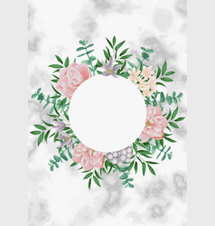 Template with round frame and pink flowers on vector