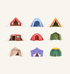 Tent colored outdoor house for travellers camping vector