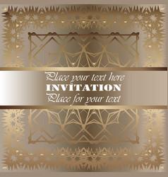 the golden invitation vintage floral pattern vector image