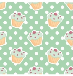 Tile pattern with cupcakes and polka dots vector image
