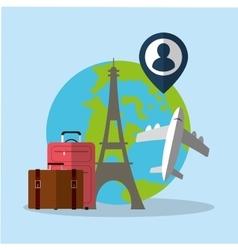 travel world plane luggage paris pin map vector image