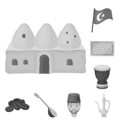 Turkey country monochrome icons in set collection vector