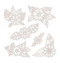 vintage floral design elements set in mono line vector image