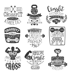 Vintage Gym Fitness Stamp Set vector image