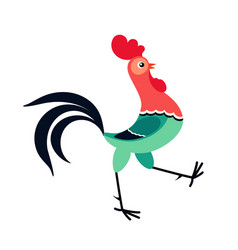 walking cartoon rooster vector image