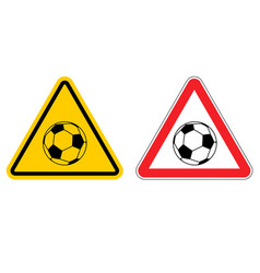 Warning sign football attention dangers yellow vector