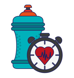 Water bottle and timer with heartbat cardio symbol vector
