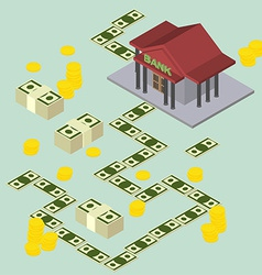 Way to the Bank Isometric style vector