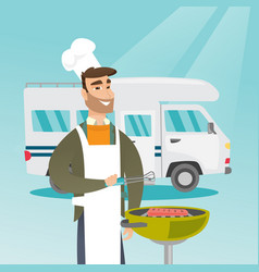 Young man barbecuing meat in front of camper van vector