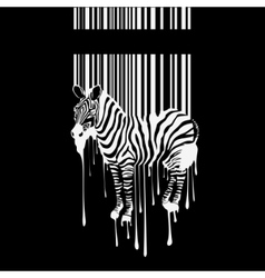 zebra silhouette with smudges barcode vector image