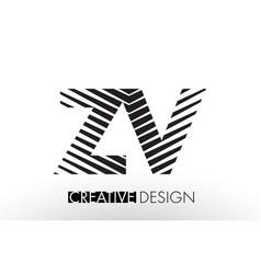 zv z v lines letter design with creative elegant vector image