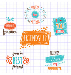 best friend logos set labels isolated on vector image