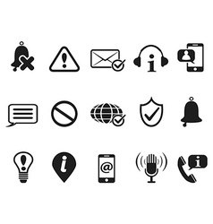 black notification and information icons set vector image vector image