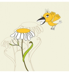 flower with bird vector image vector image