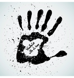 Handprint with six toes vector image