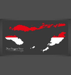 nusa tenggara timur indonesia map with indonesian vector image vector image