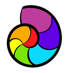 Snail rainbow icon icon cartoon vector