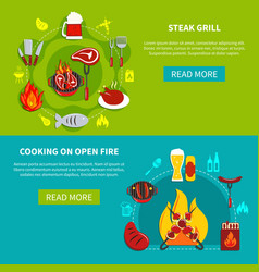 steak grill and cooking on open fire flat vector image vector image