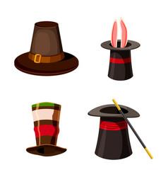 top hat icon set cartoon style vector image