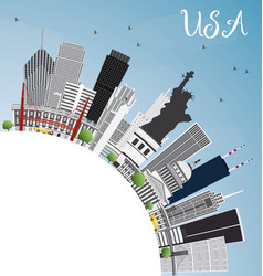 Usa skyline with gray skyscrapers landmarks and vector