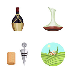 A bottle of wine in a basket a gafine a vector