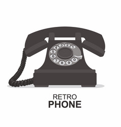 black vintage telephone isolated on white vector image