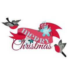 Christmas Card - with Winter Birds vector image