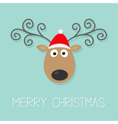 Cute cartoon deer with curly horns and red hat vector image vector image