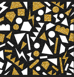 gold glitter abstract geometry seamless pattern vector image