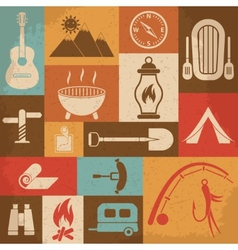 Retro camping icons set icons vector image