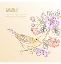 Cute watercolor bird vector image