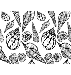 Doodle textured shells seamless pattern vector image vector image