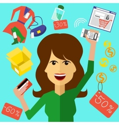 Happy woman with a card and phone in hands vector image vector image