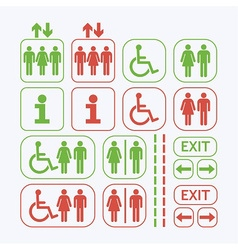 Line Man and Woman public access icons set vector image